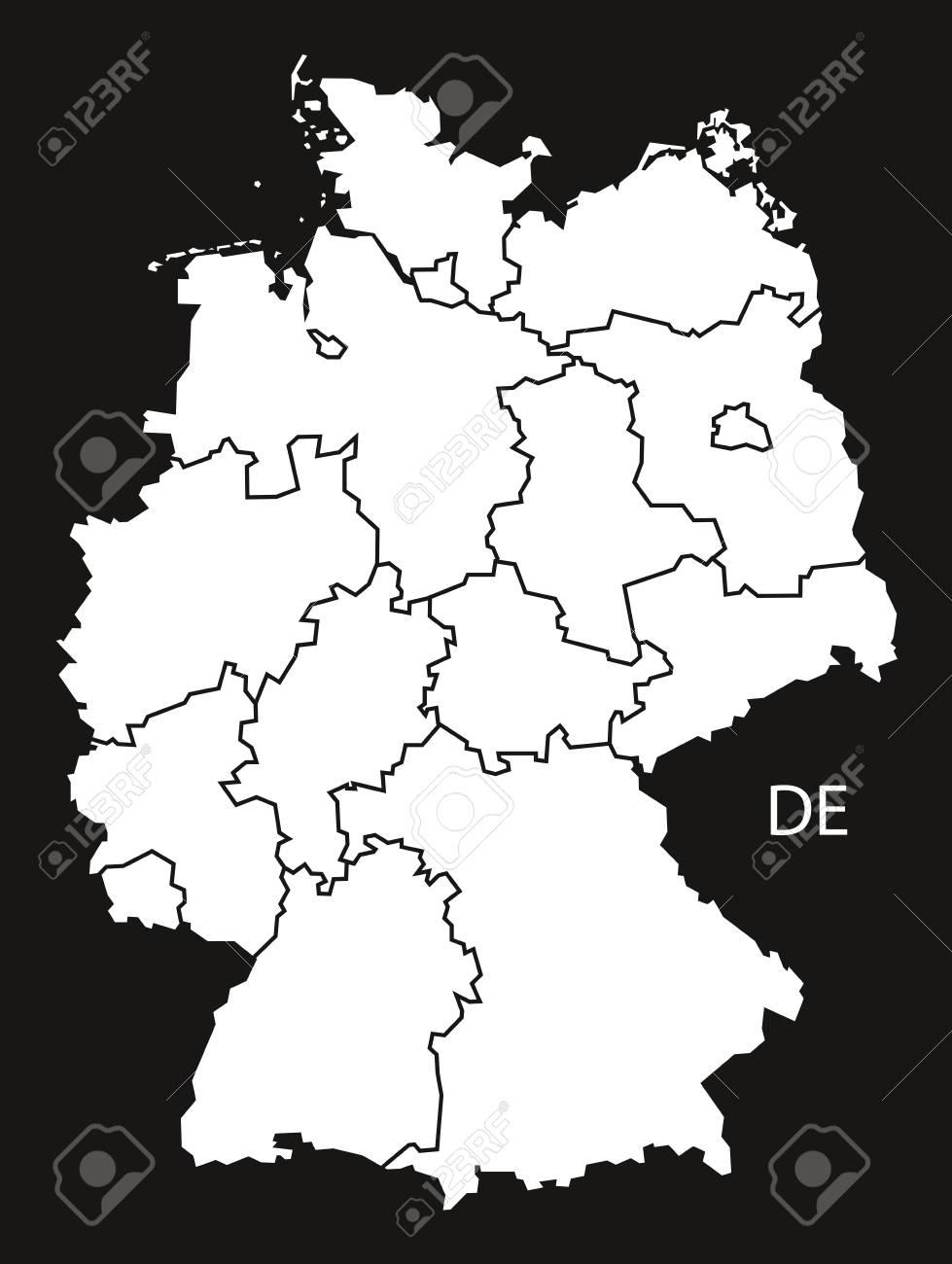 karte deutschland schwarz weiß Deutschland Mit Staaten Karte Schwarz Weiß Lizenzfrei Nutzbare