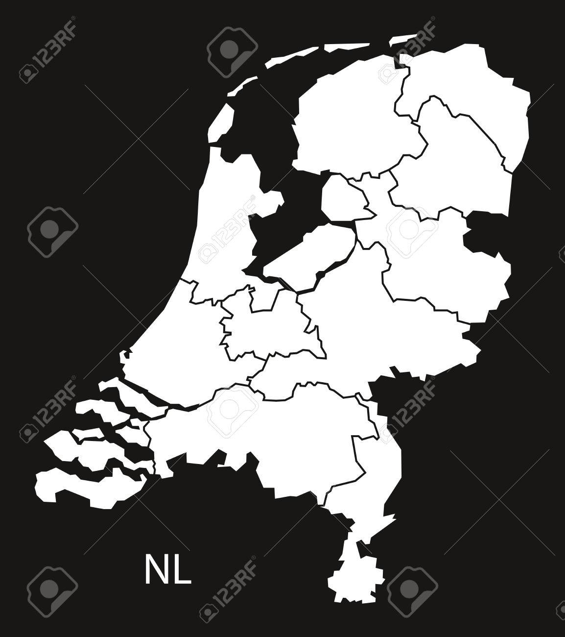 Netherlands Map With Provinces Black White Royalty Free Cliparts