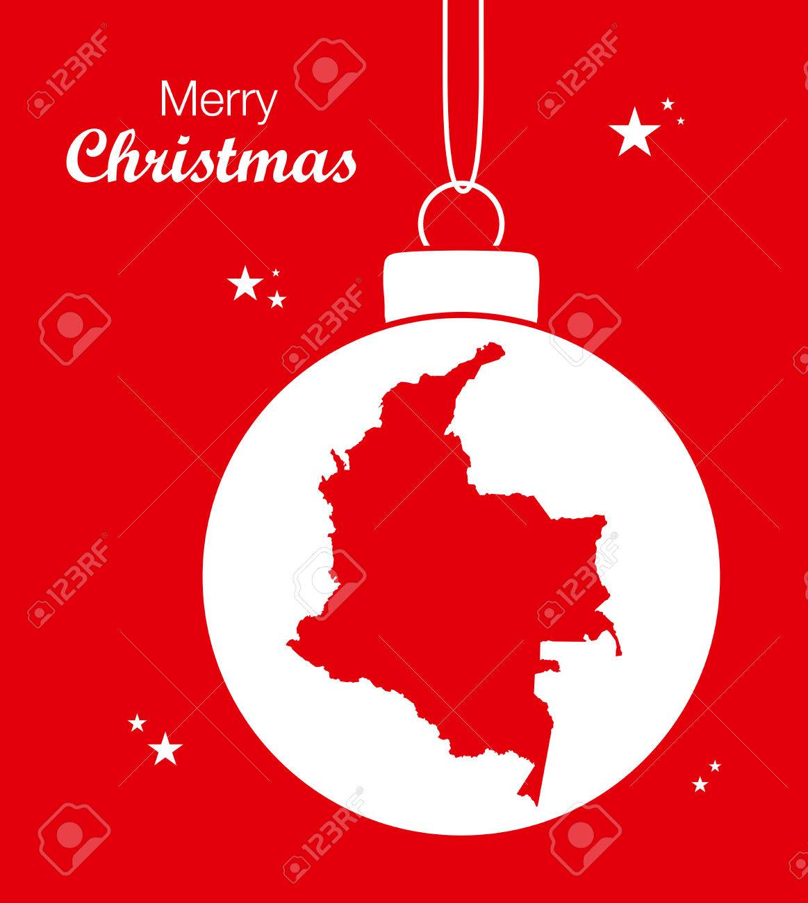 Christmas In Colombia.Merry Christmas Map Colombia