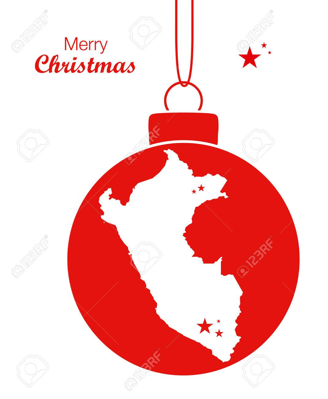 Peruvian christmas ornaments - Merry Christmas Map Peru Stock Vector 65555294