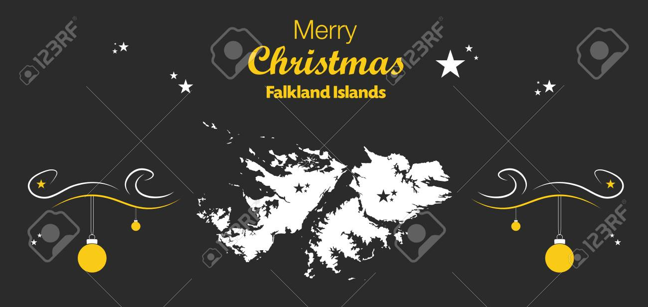 Island Christmas Theme.Merry Christmas Illustration Theme With Map Of Falkland Islands