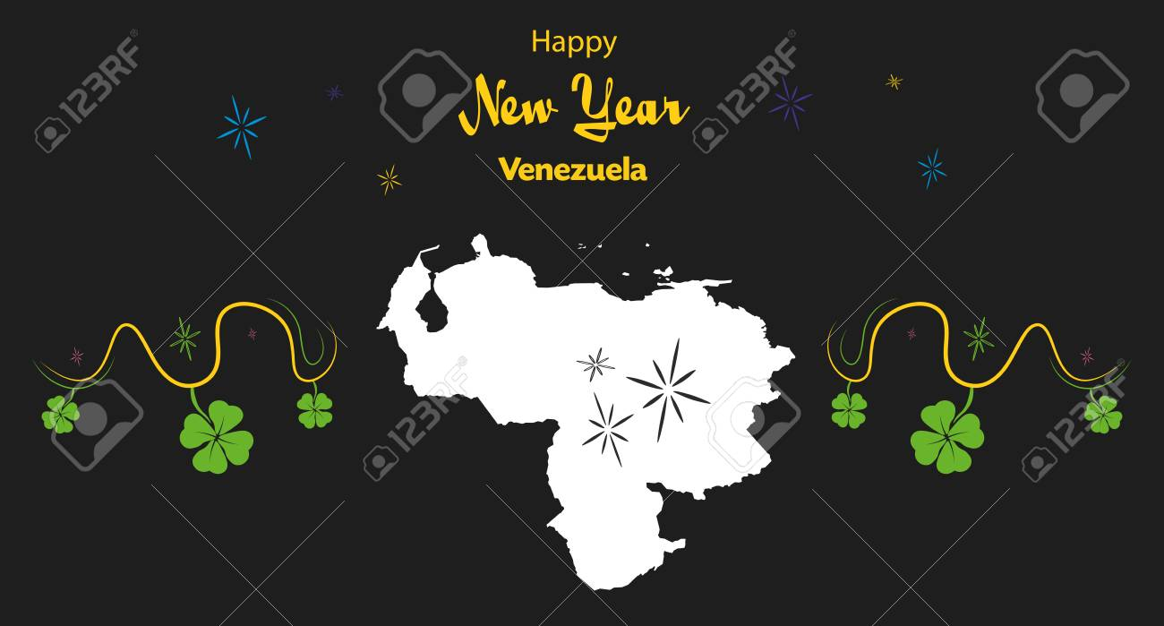 happy new year illustration theme with map of venezuela stock vector 66768562