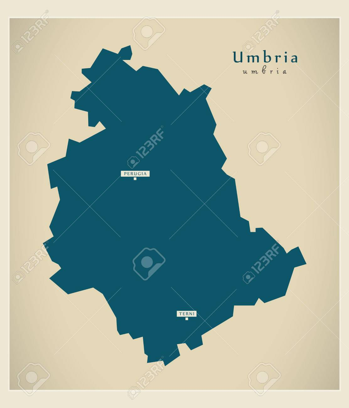 Modern Map Of Italy.Modern Map Umbria It Italy
