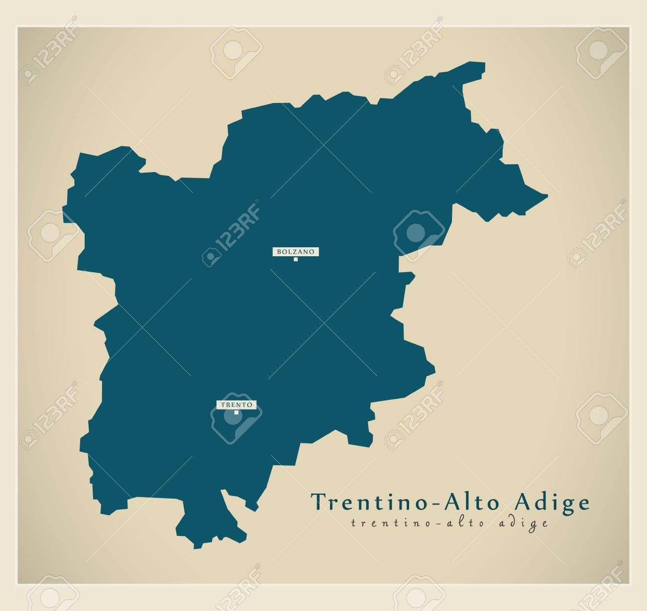 Modern Map Of Italy.Modern Map Trentino Alto Adige It Italy