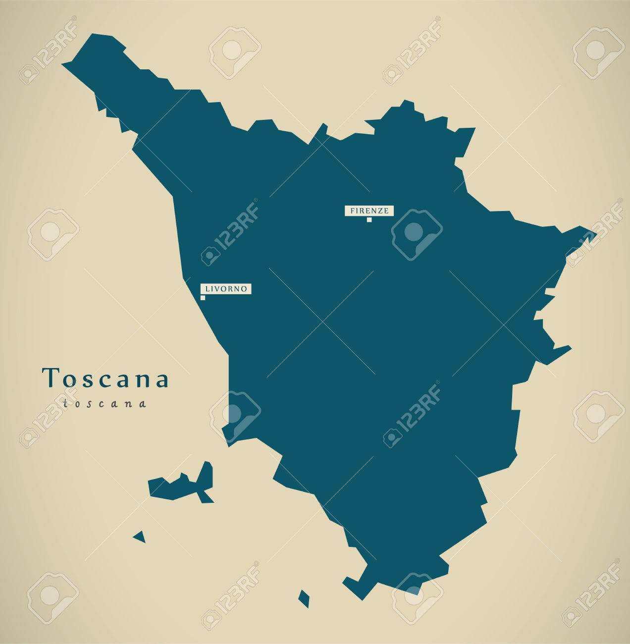 Modern Map Of Italy.Modern Map Toscana It Italy