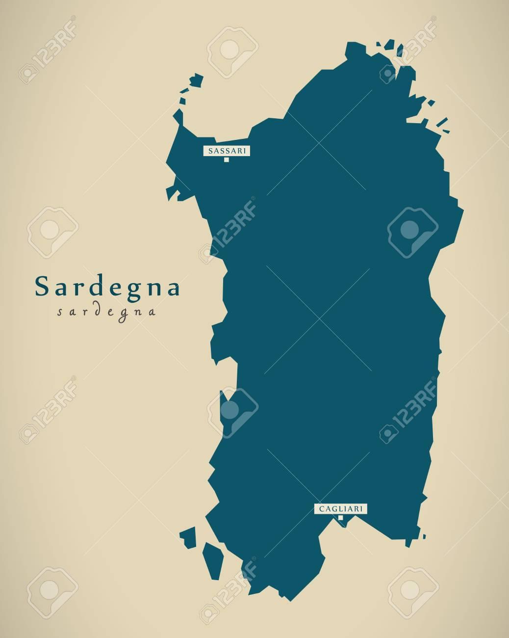 Modern Map Of Italy.Modern Map Sardegna It Italy