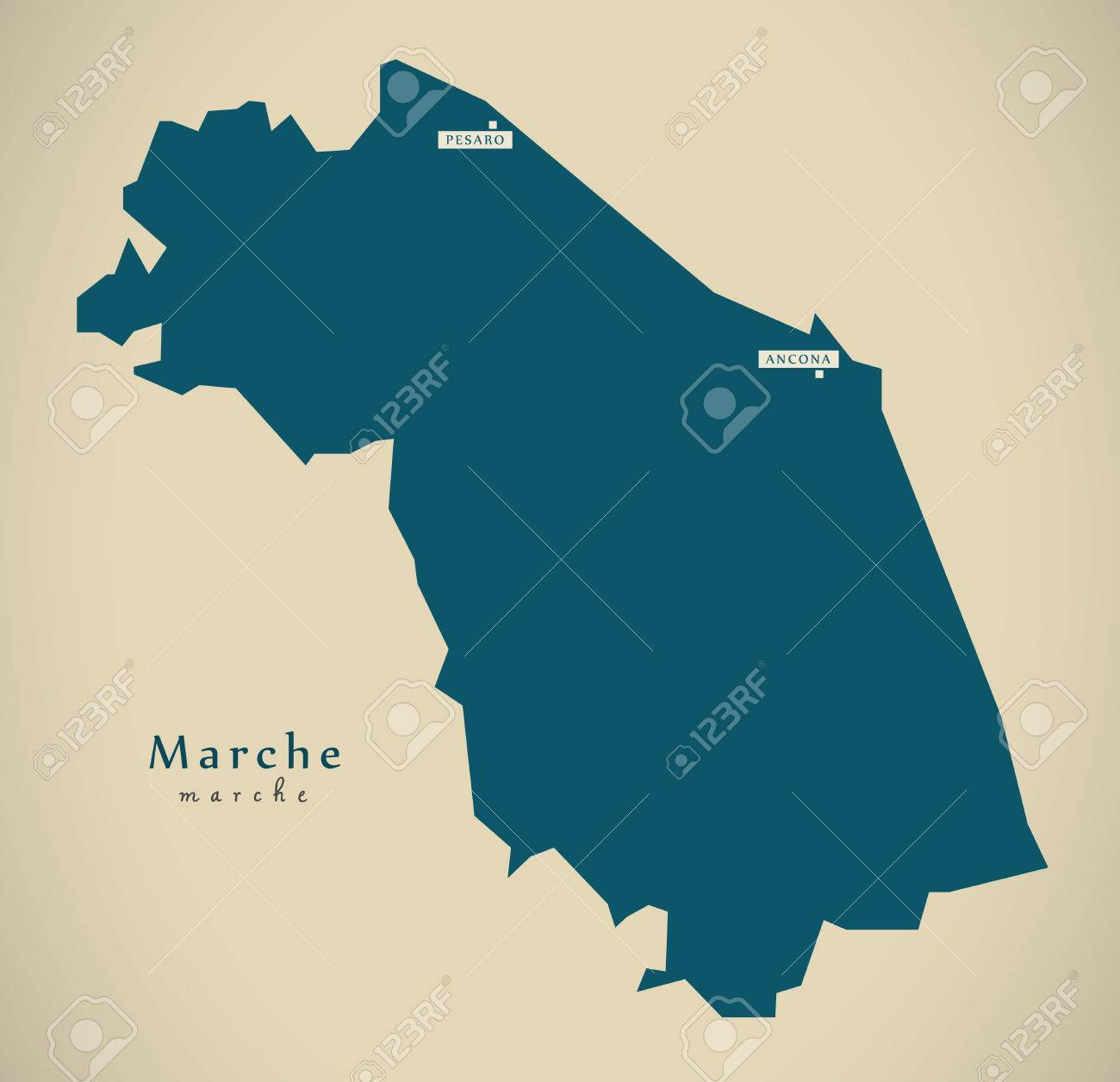 Modern Map Of Italy.Modern Map Marche It Italy