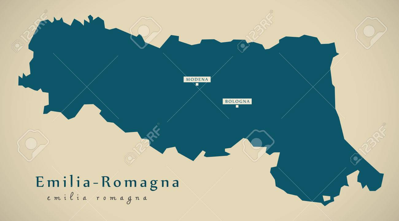Modern Map Of Italy.Modern Map Emilia Romagna It Italy