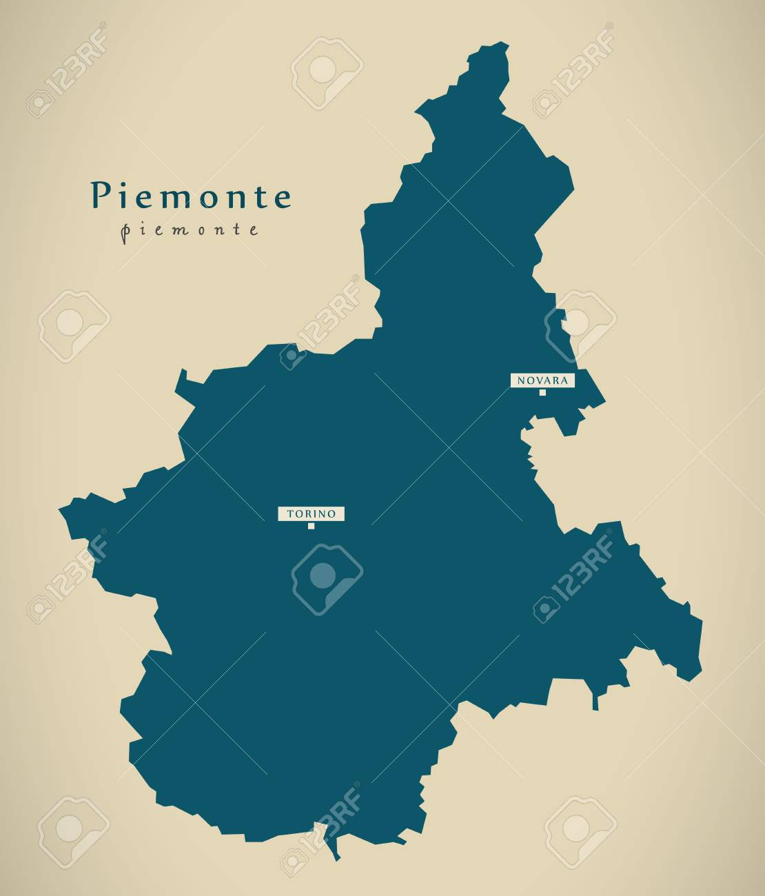 Modern Map Of Italy.Modern Map Piemonte It Italy