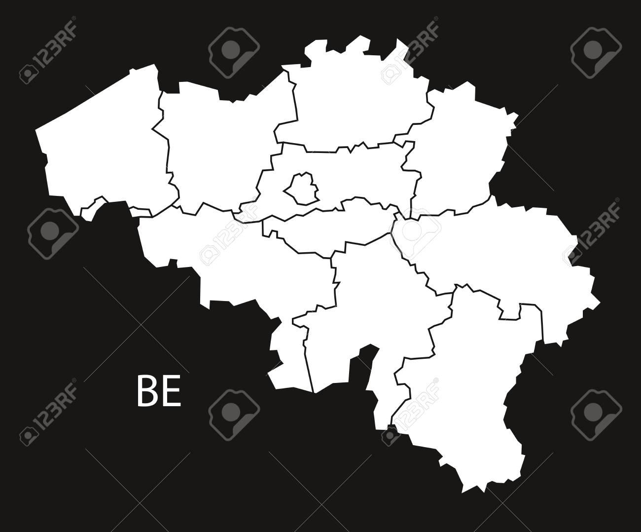 belgium regions map black white stock vector 66769252