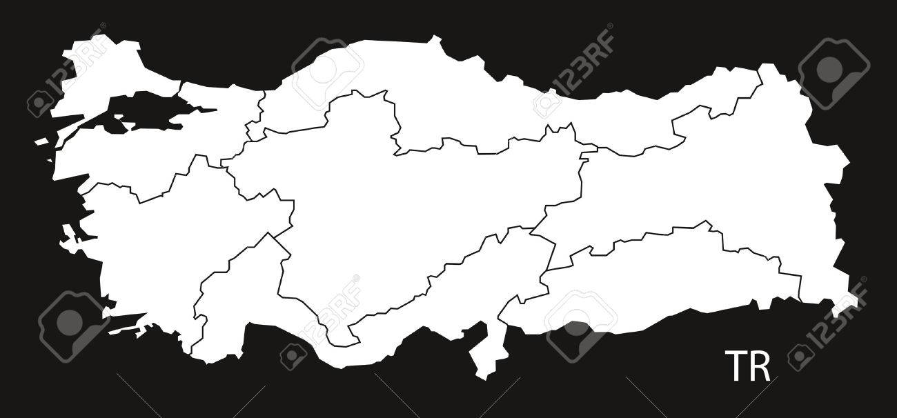 Turkey Map with regions black white Stock