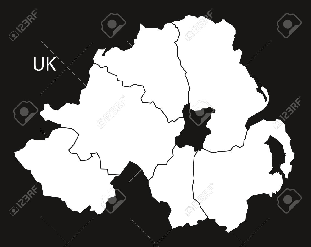 Map Of N Ireland With Counties.Northern Ireland Counties Map Black White Royalty Free Cliparts
