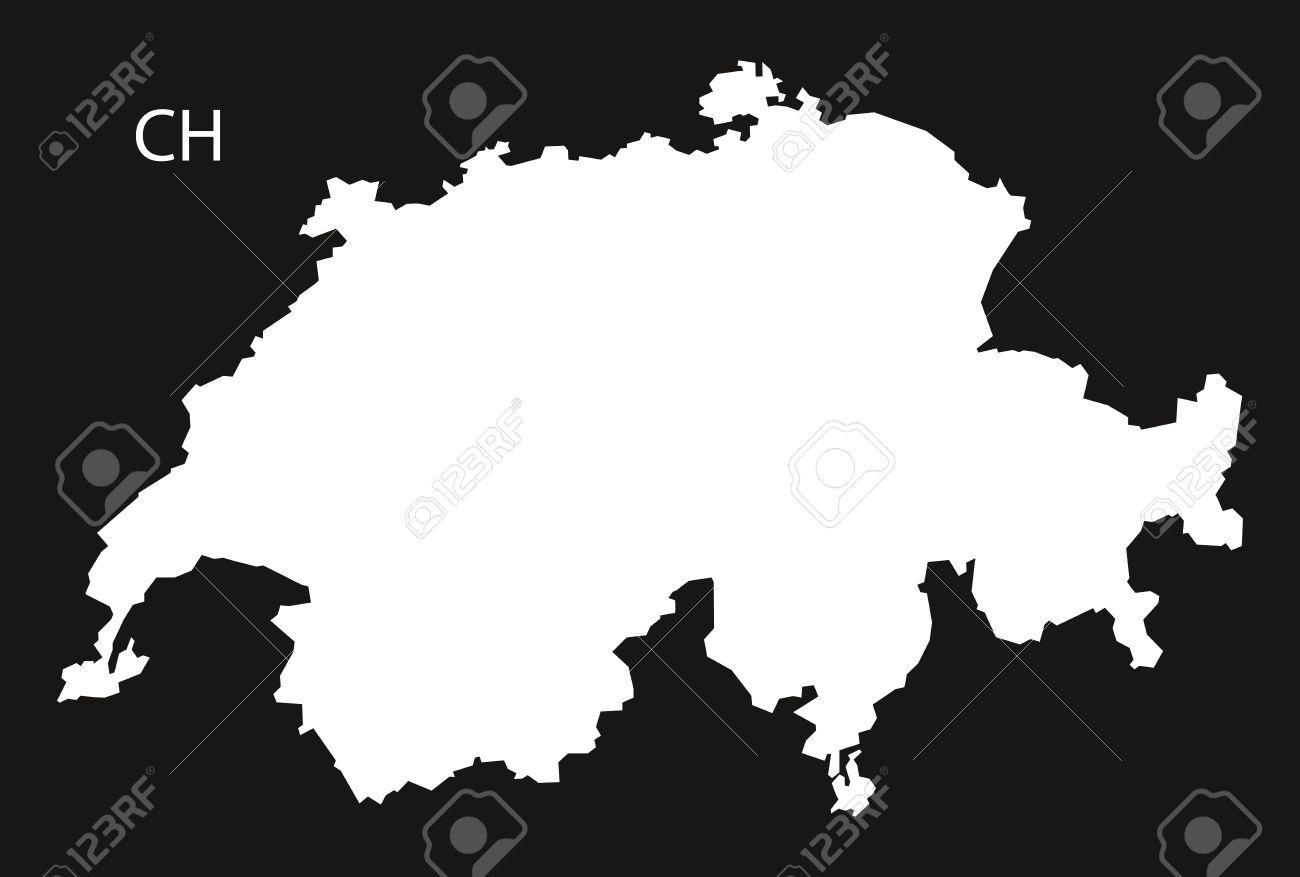 Schweiz Karte Schwarz Weiss.Stock Photo