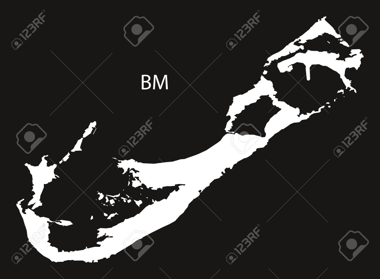 Bermuda Map black and white illustration