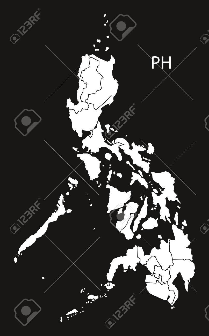 Philippines Map Black And White.Philippines Regions Map Black And White Illustration Royalty Free