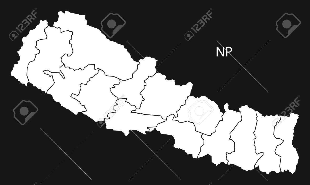 Nepal with zones map black and white illustration stock vector 67395995