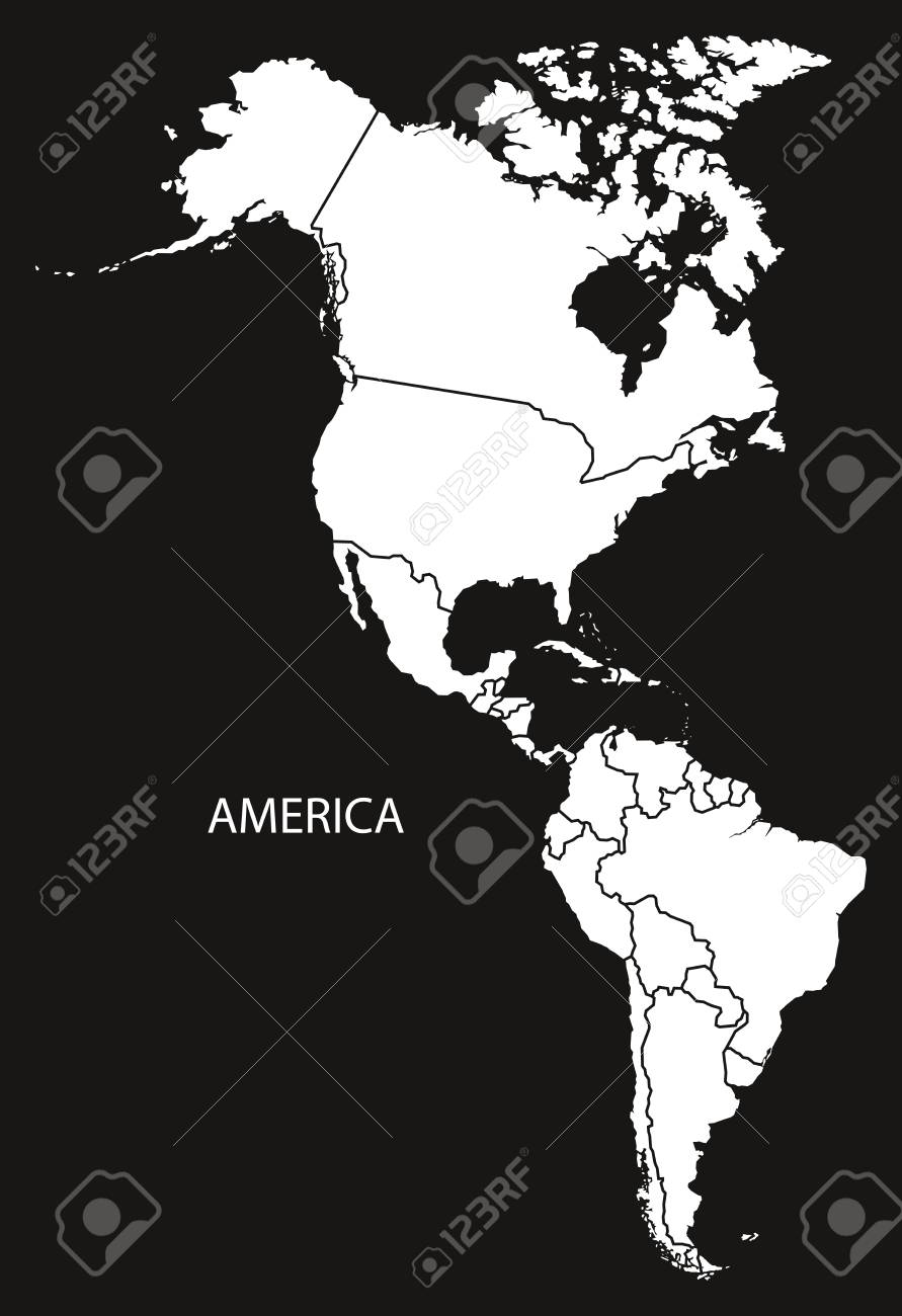 America With Countries Map Black And White Illustration Royalty ...