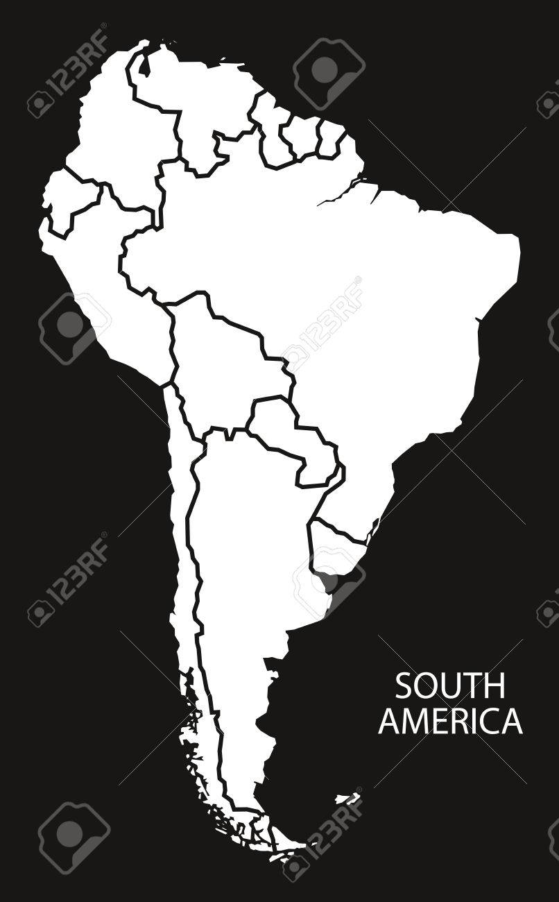 South America with countries Map black and white illustration