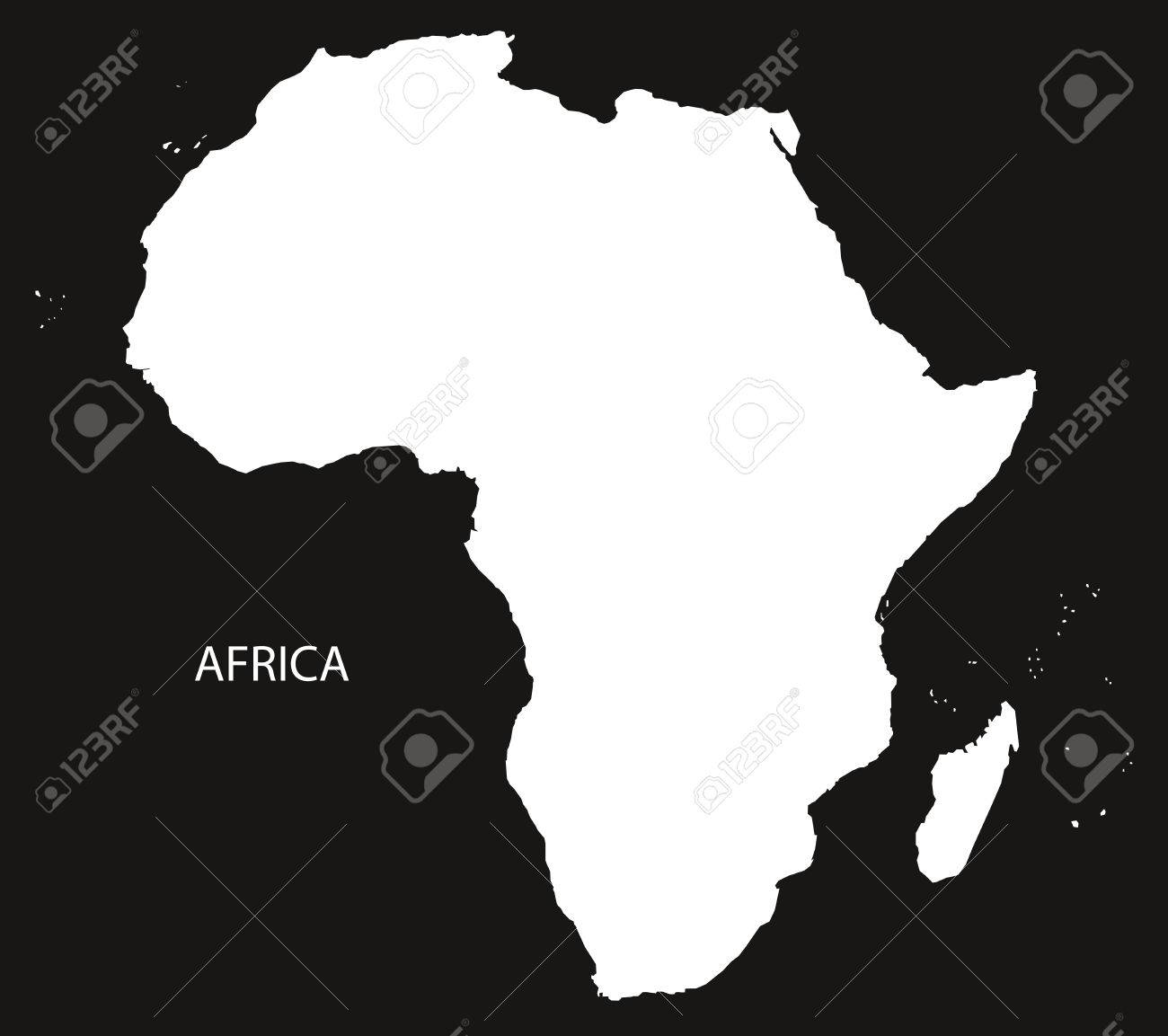 Africa Map Black And White Illustration Royalty Free Cliparts