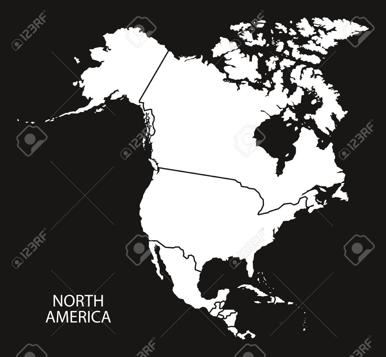 North America With Countries Map Black And White Illustration