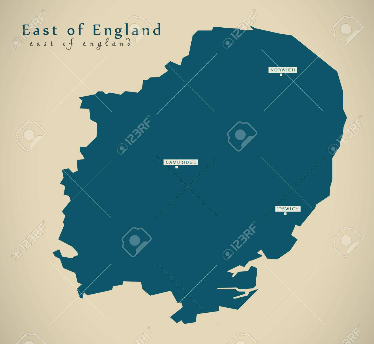 Map Of East Uk.Stock Illustration