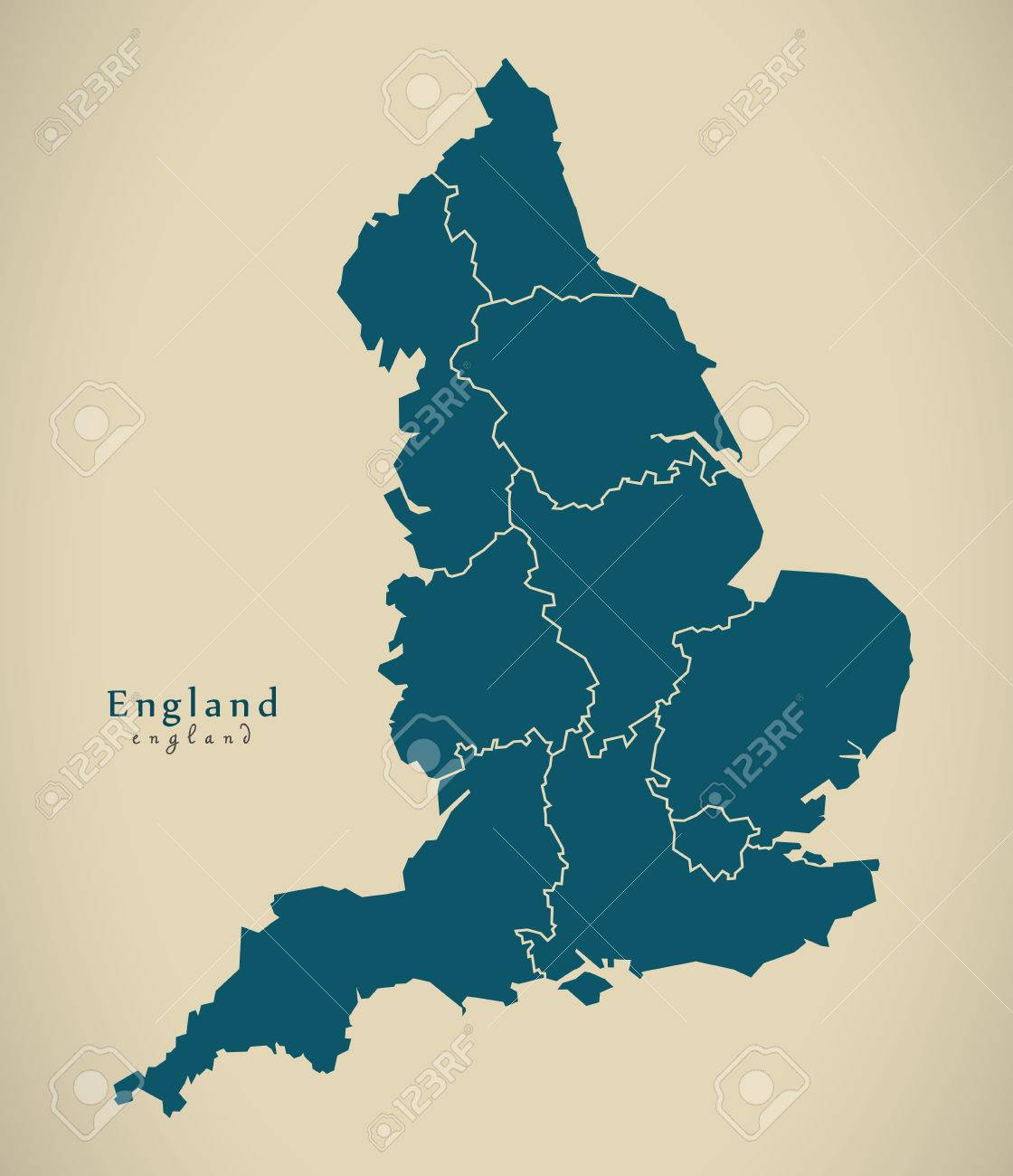 Map Of England With Counties.Modern Map England With Counties Uk Illustration Stock Photo