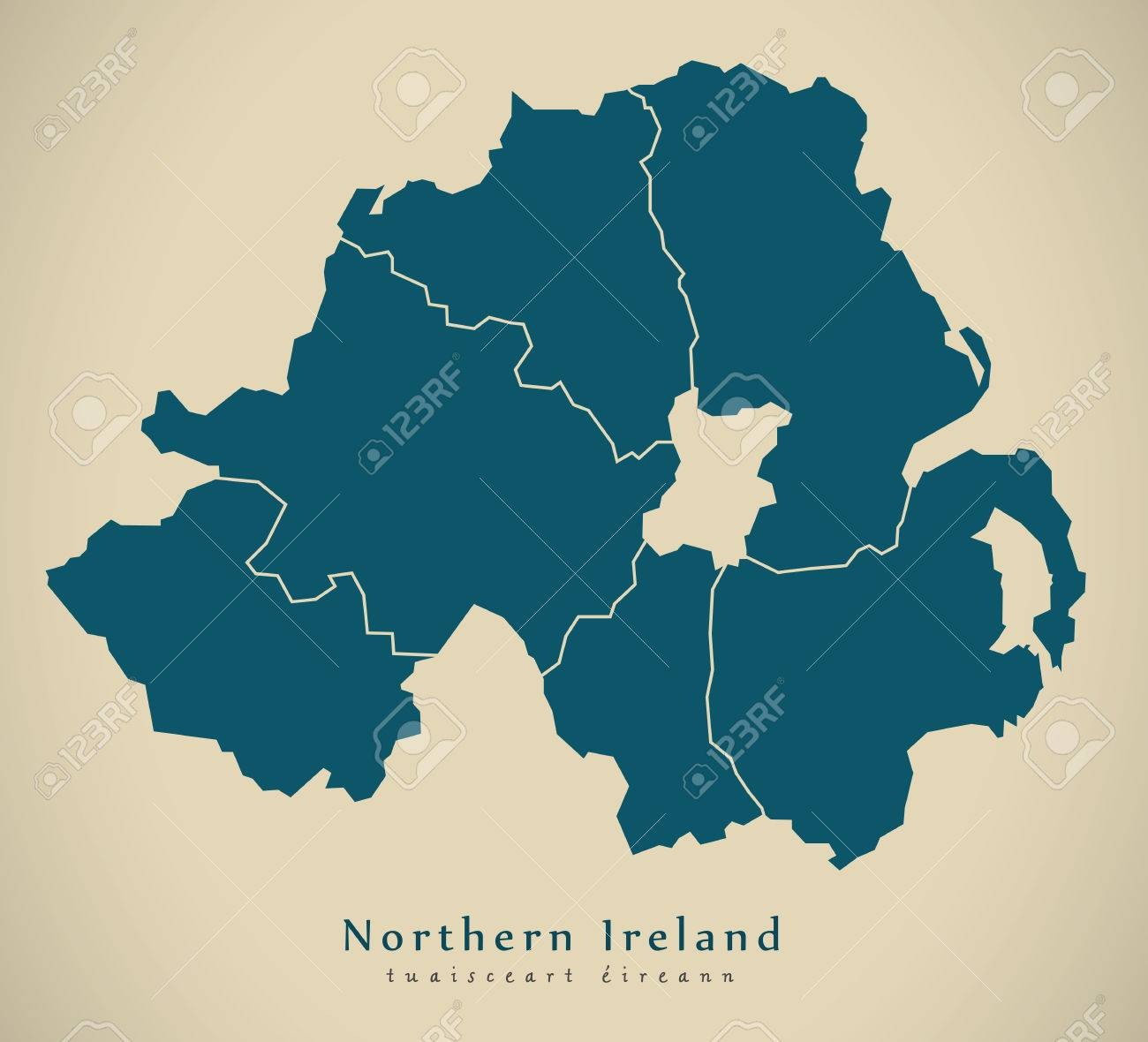 Map Of Northern Ireland Counties.Modern Map Northern Ireland With Counties Uk