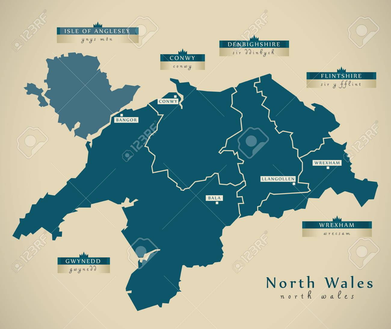 Modern Map North Wales UK Illustration Stock Picture And