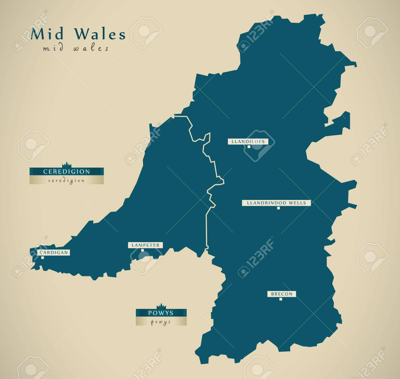 Map Of Wales Uk.Modern Map Mid Wales Uk Illustration Stock Photo Picture And