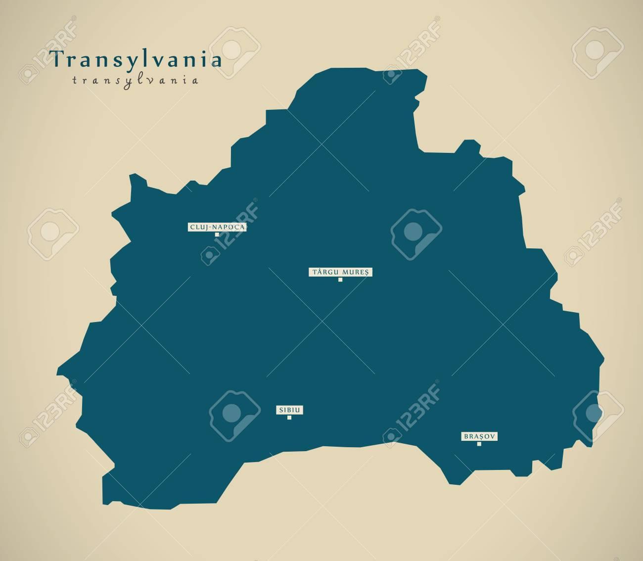 Perfect Illustration   Modern Map   Transylvania Romania RO Illustration
