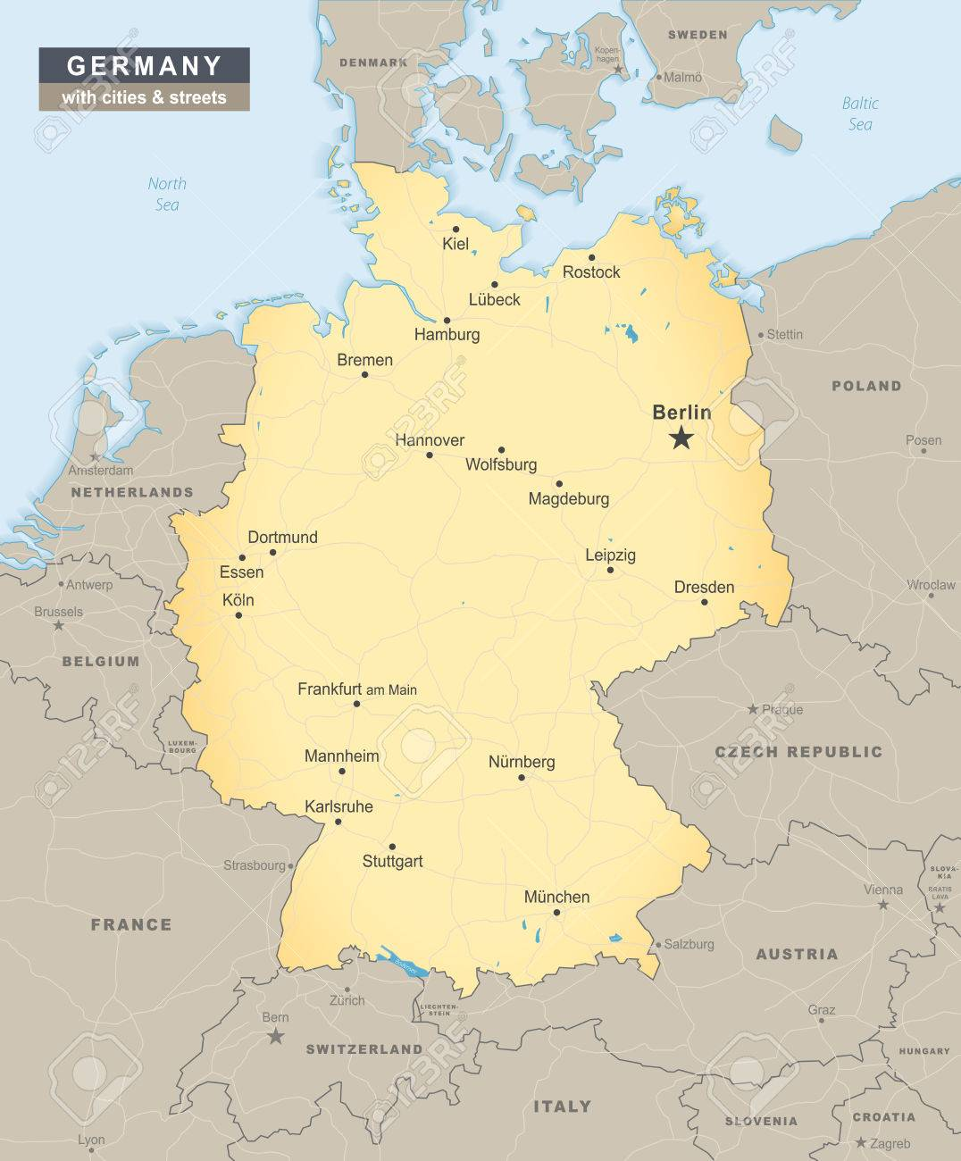 Germany Map With Cities And States.Germany Map Overview With Streets And Cities Including Neighbour