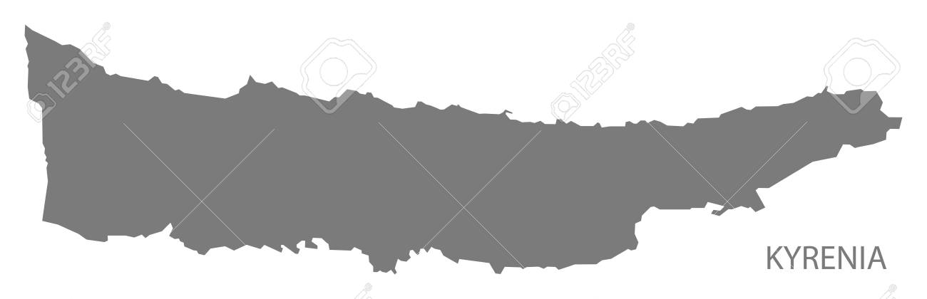 Kyrenia Northern Cyprus Map In Grey Royalty Free Cliparts Vectors