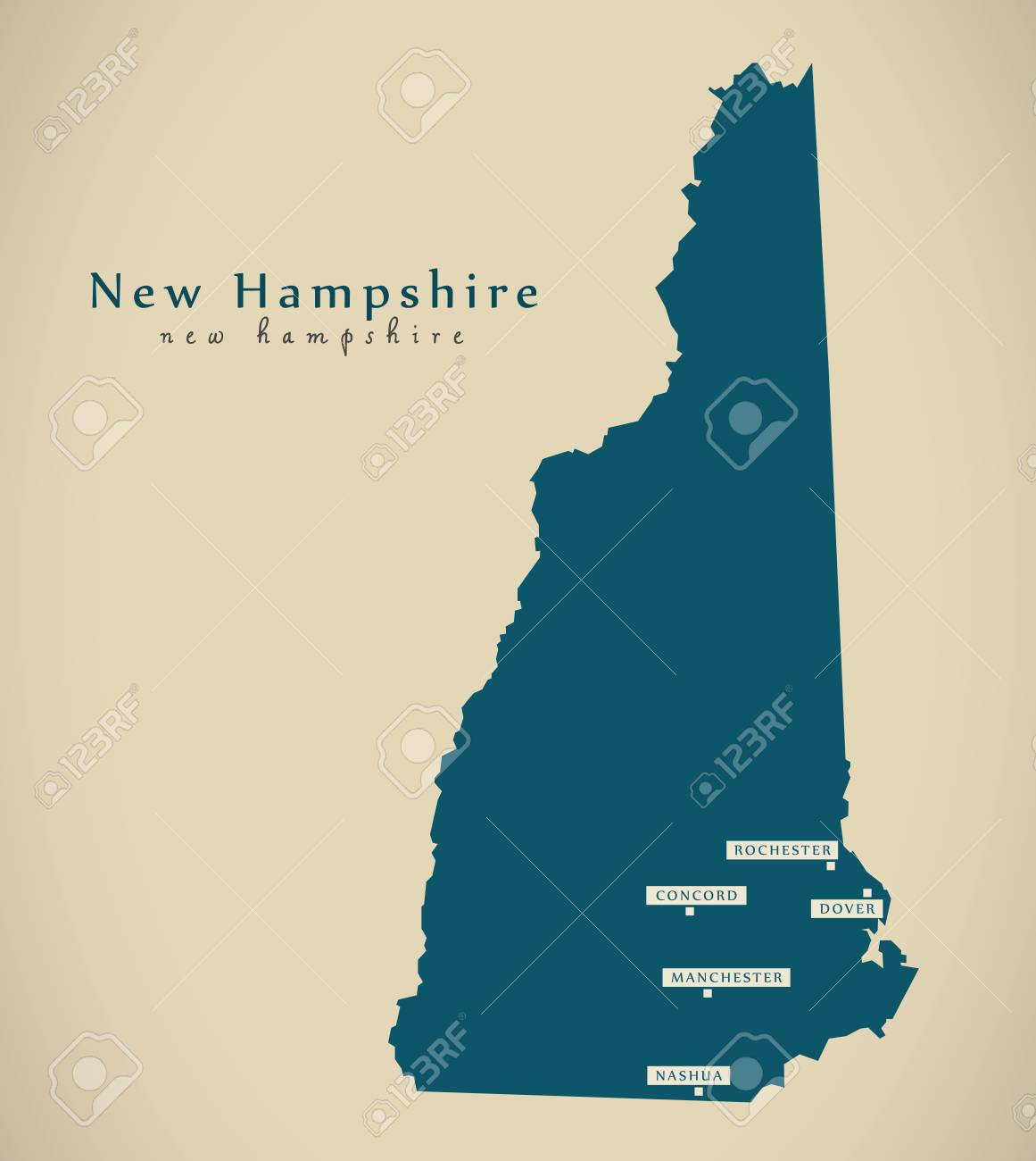 Modern Map New Hampshire Usa Federal State Illustration Silhouette