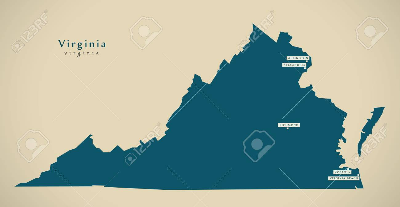 Modern Map - Virginia USA Federal State Illustration Silhouette ...