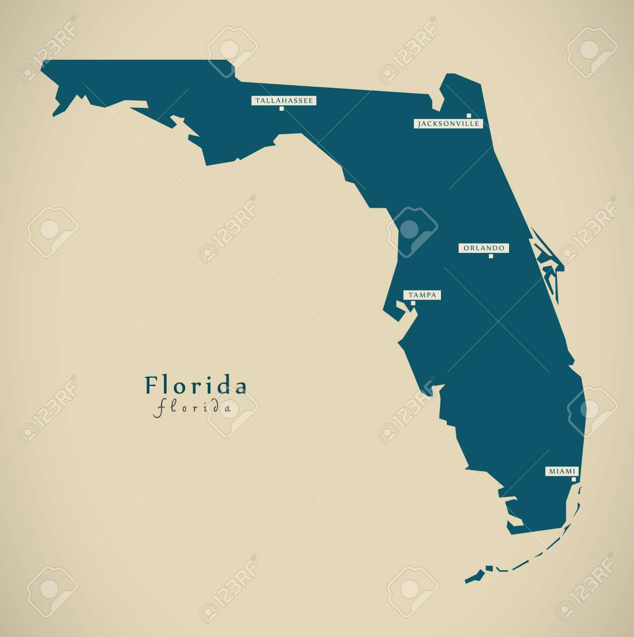 Modern Map - Florida USA Federal State Illustration Silhouette Stock ...