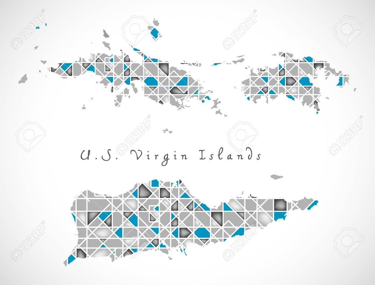 US Virgin Islands Map Crystal Diamond Style Artwork Illustration ...