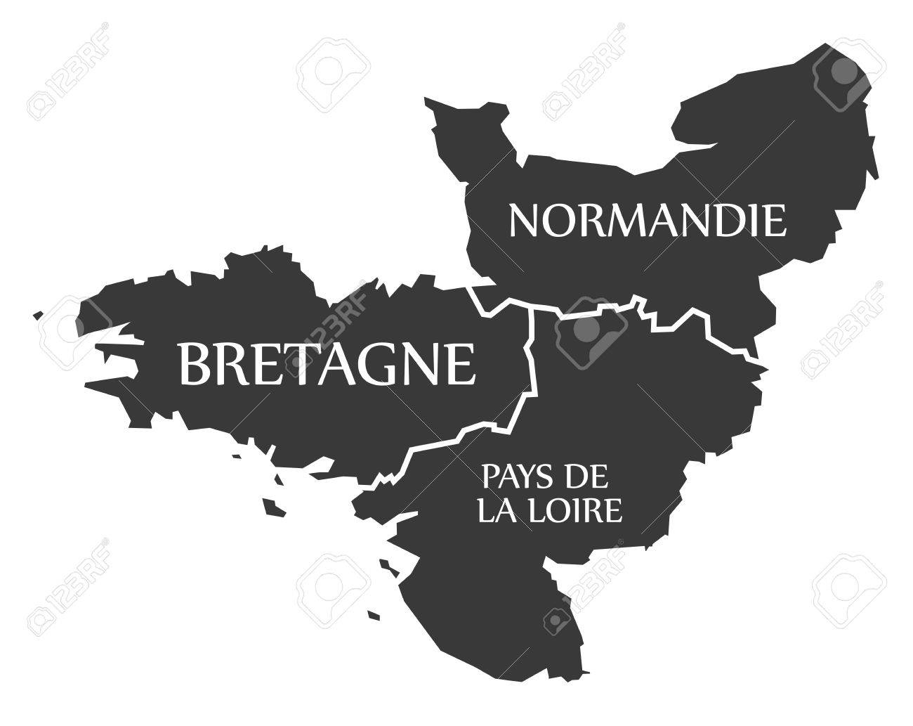 Mapa Bretaña Y Normandia.Bretana Normandia Paises Del Loira Mapa Francia Ilustracion