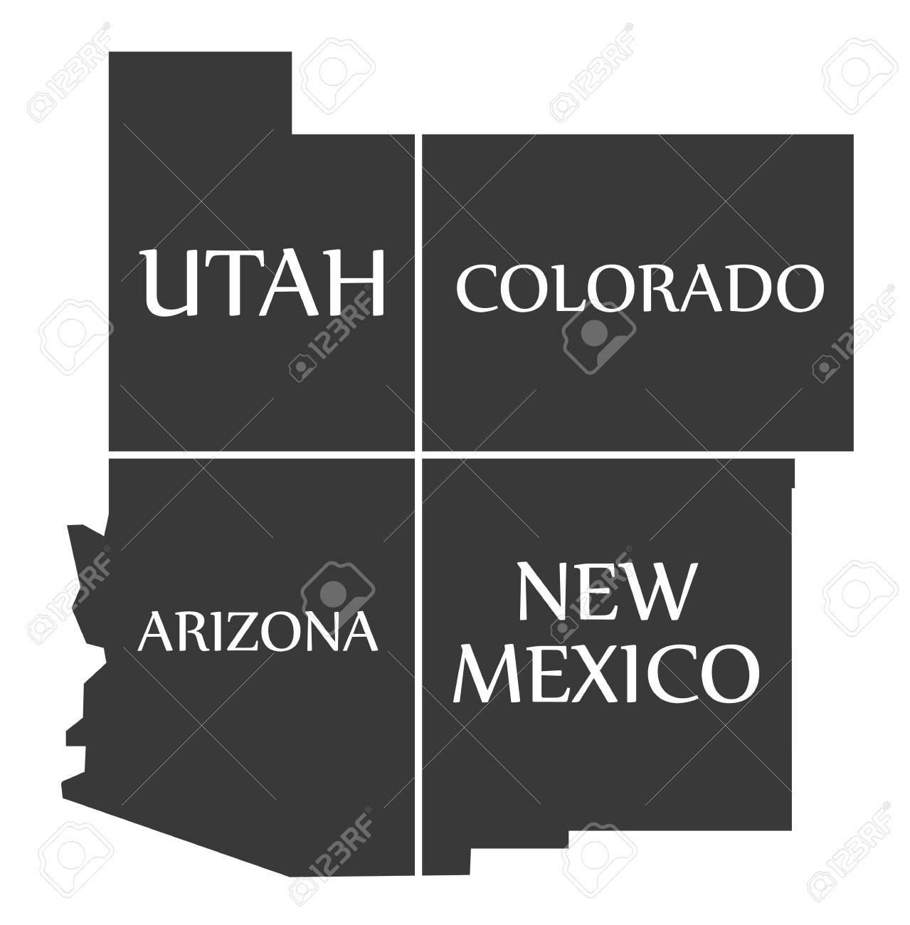 Utah - Colorado - Arizona - New Mexico Map Labelled Black ...