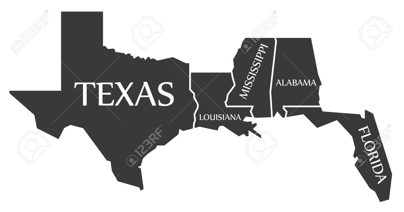Texas Louisiana Mississippi Alabama Florida Map Labelled