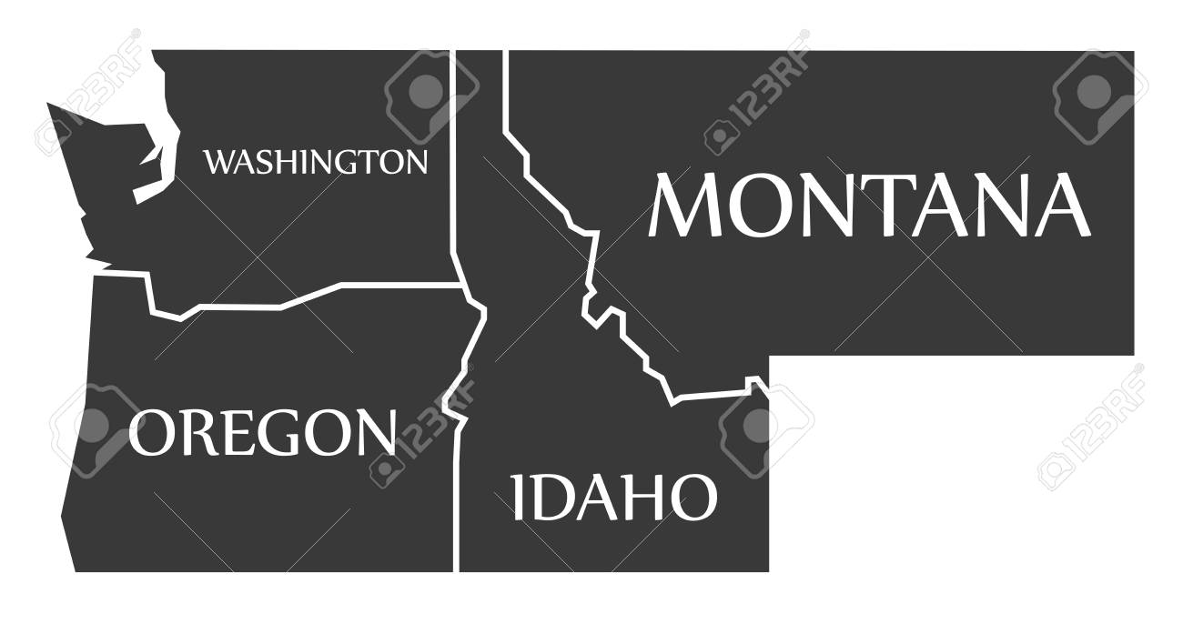Washington Oregon Idaho Montana Map Labelled Black