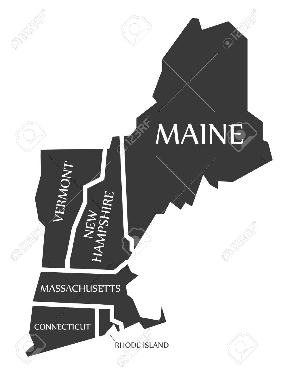 Maine - New Hampshire - Vermont - Massachusetts Map labelled..