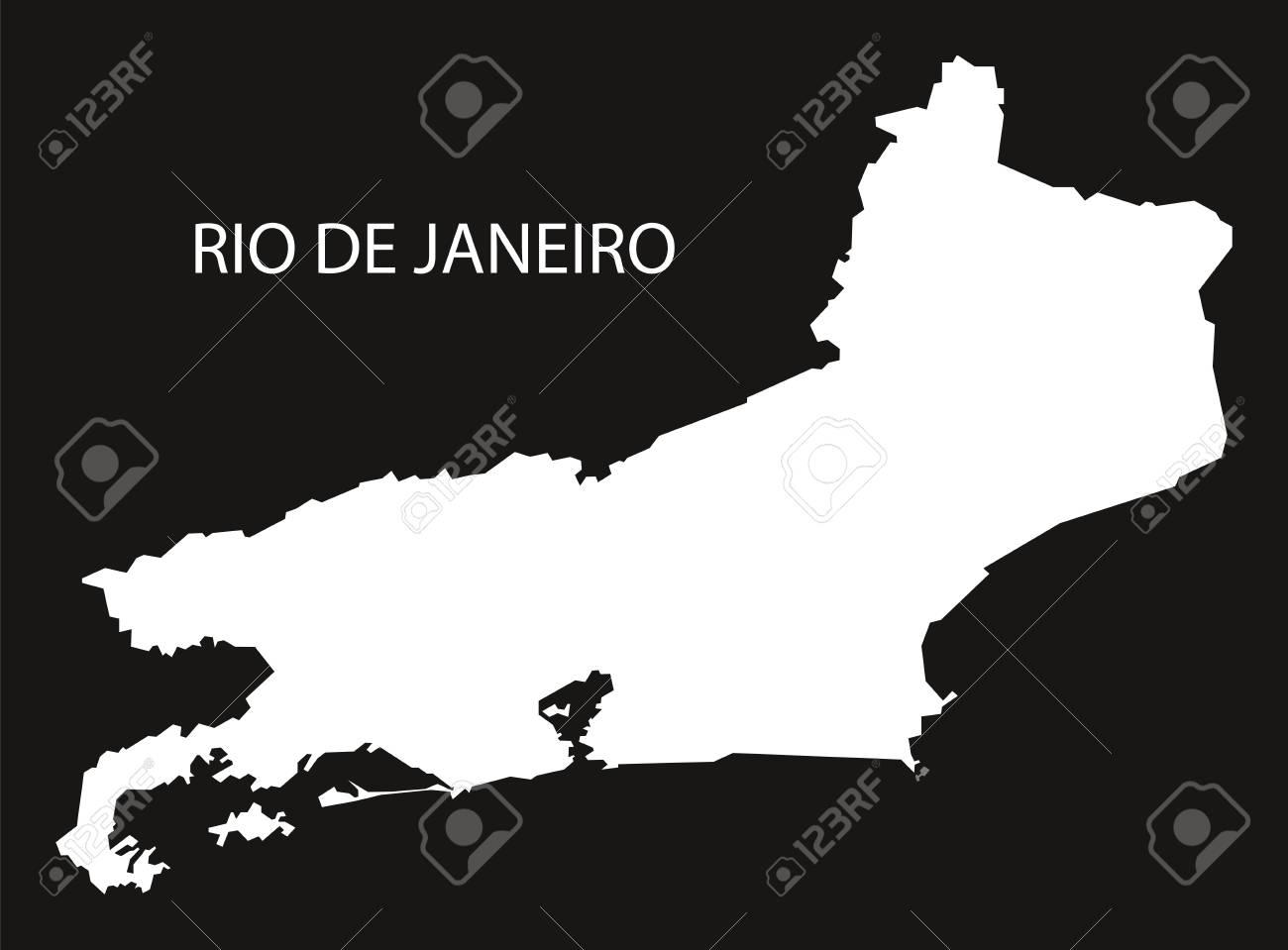 Rio De Janeiro Brazil Map Black Inverted Silhouette Royalty Free ...