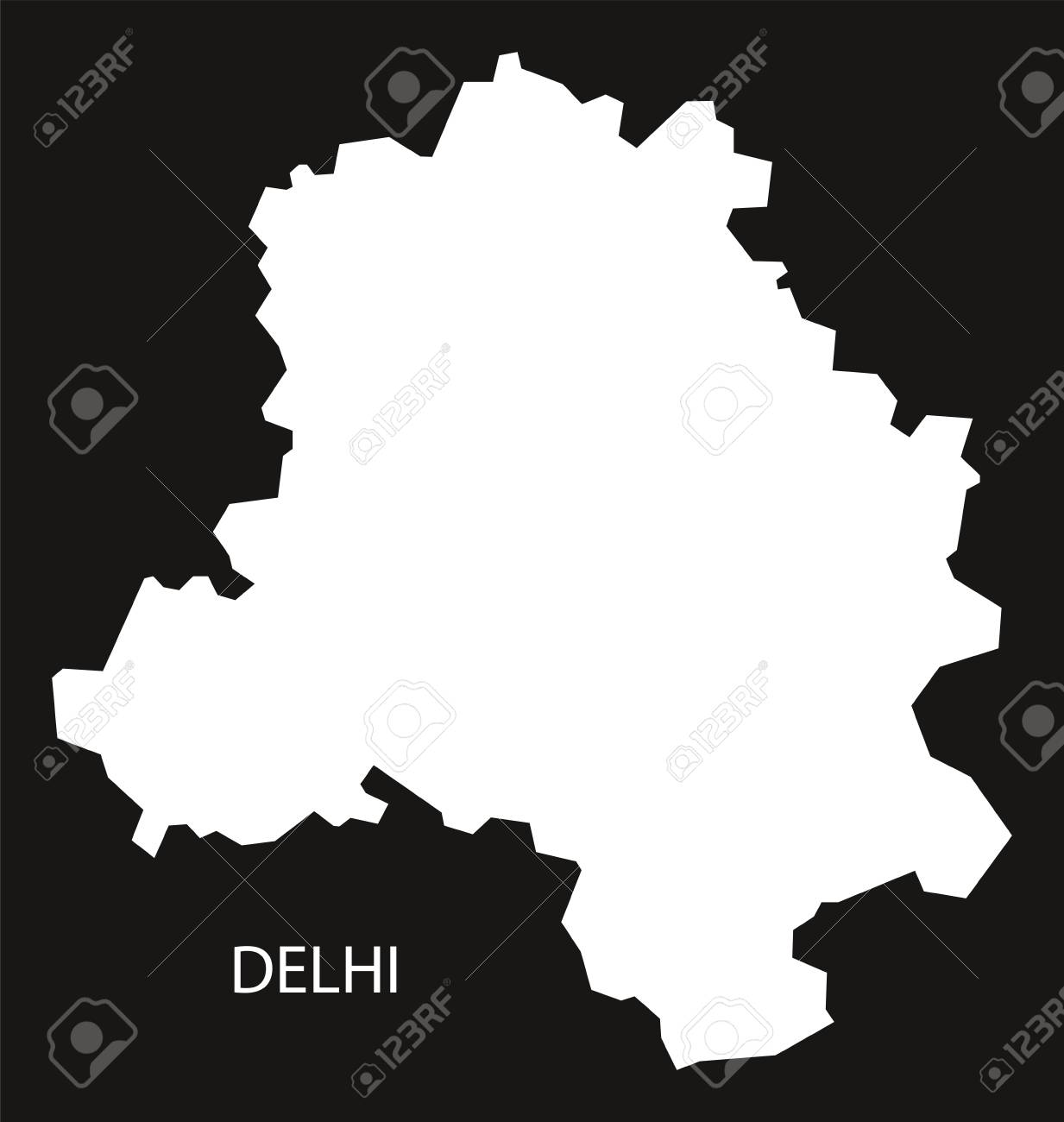Delhi India Map Black Inverted Silhouette Royalty Free Cliparts