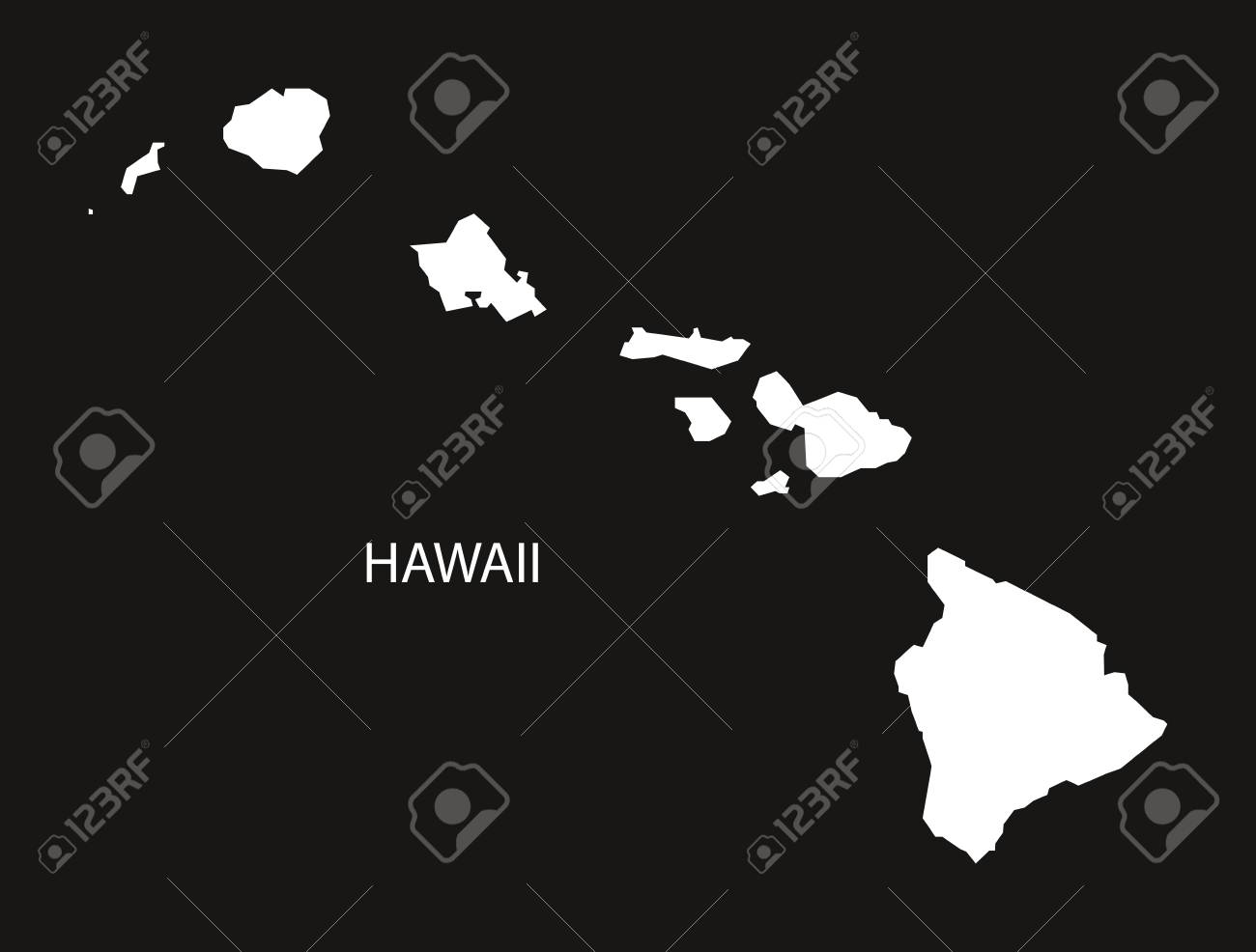 Hawaii Usa Map Black Inverted Silhouette Royalty Free Cliparts