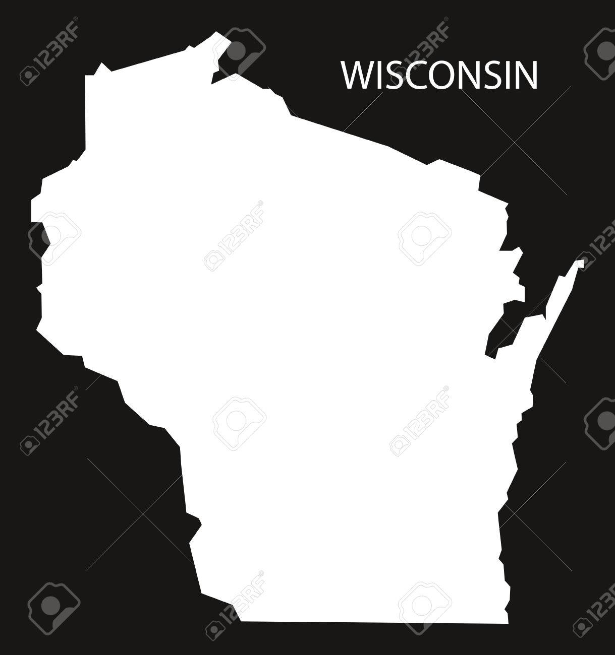 Usa Map Black.Wisconsin Usa Map Black Inverted Silhouette Royalty Free Cliparts