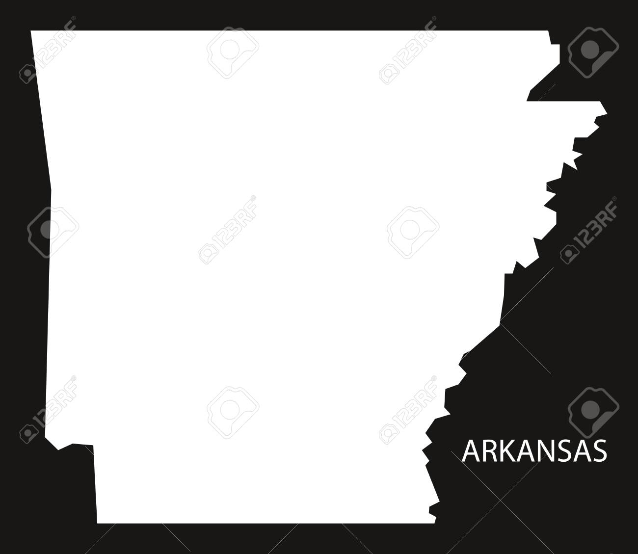 Arkansas On Usa Map.Arkansas Usa Map Black Inverted Silhouette Royalty Free Cliparts