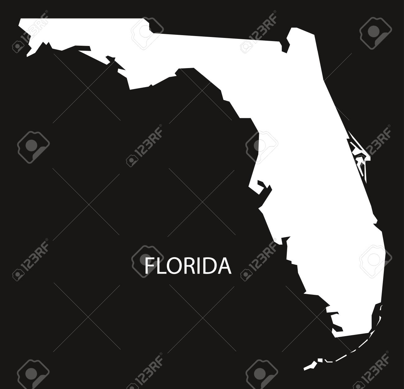 Florida Usa Map.Florida Usa Map Black Inverted Silhouette Royalty Free Cliparts