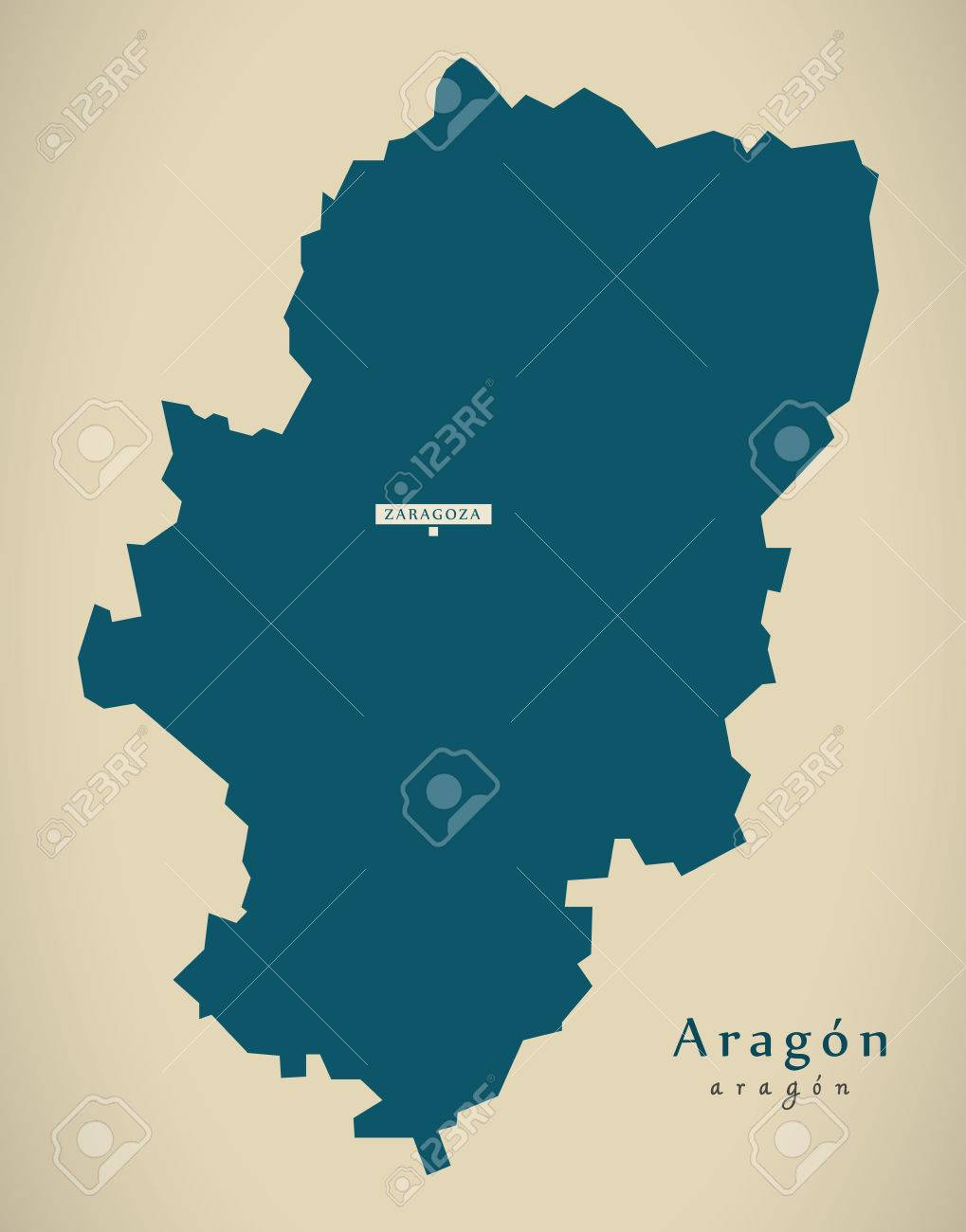 Modern Map Aragon Spain Es Illustration Stock Photo Picture And