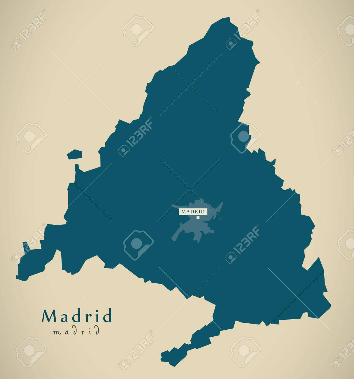 Modern Map - Madrid Spain ES Illustration Stock Photo, Picture And ...