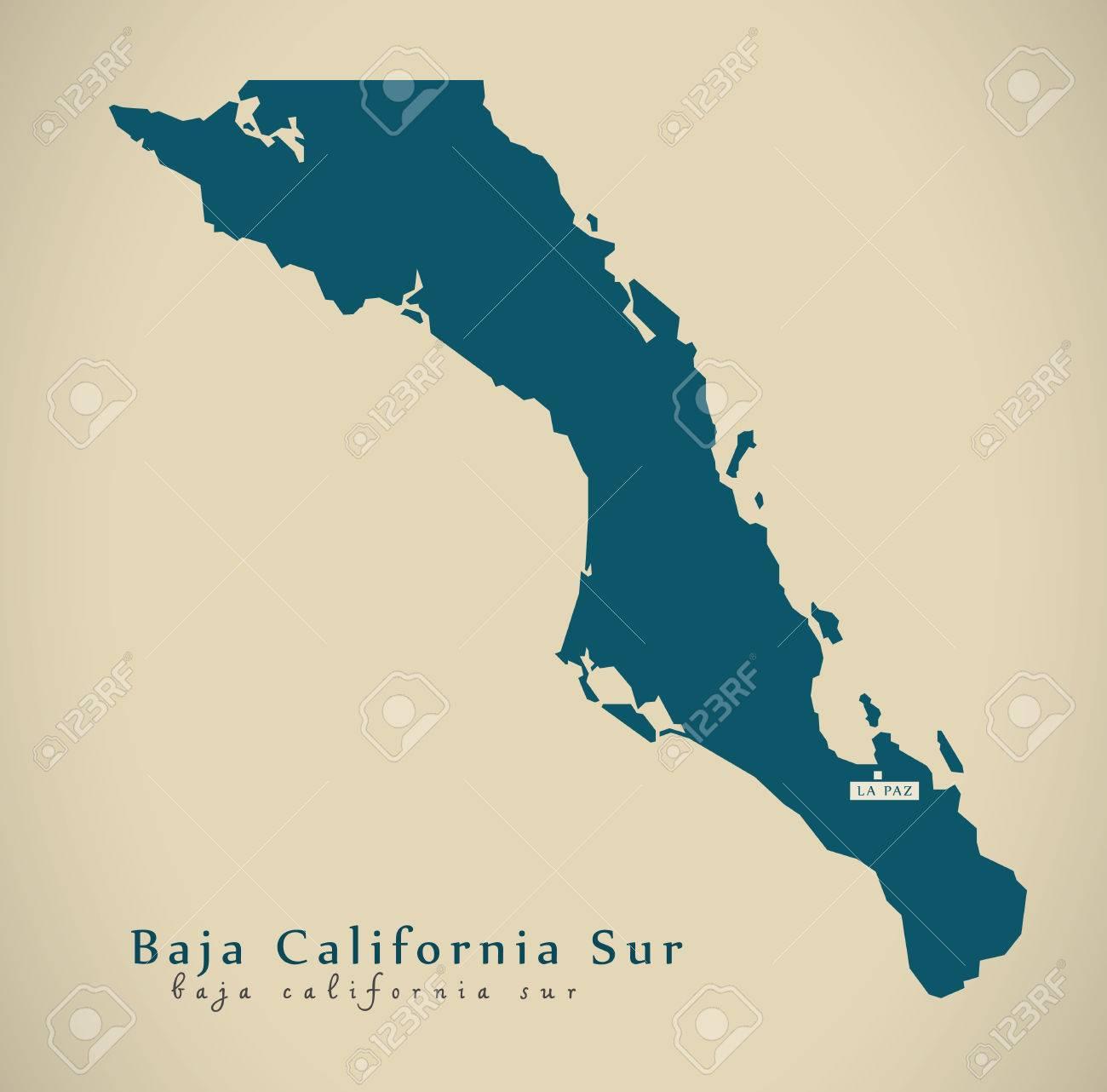 Baja California Map Mexico.Modern Map Baja California Sur Mexico Mx Illustration Stock Photo